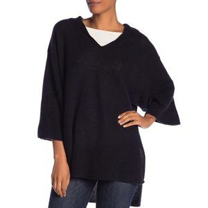 Halogen Cashmere Ribbed Hooded Poncho Sweater Blk